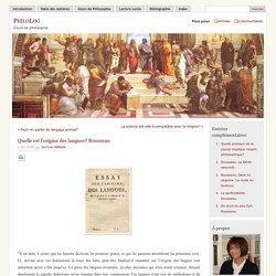 » Quelle est l'origine des langues? Rousseau