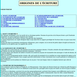 ORIGINES DE L'ÉCRITURE
