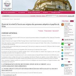 Projet de loi relatif à l'accès aux origines des personnes adoptées et pupilles de l'Etat