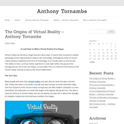 The Origins of Virtual Reality – Anthony Tornambe