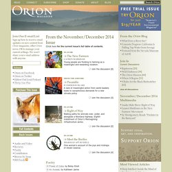 Orion Magazine - nature / culture / place