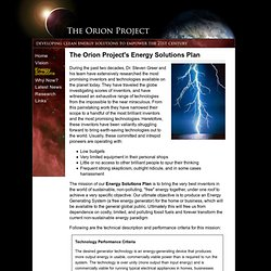 The Orion Project - The Orion Project's Energy Solutions Plan