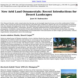 New Arid Land Ornamentals: Recent Introductions for Desert Landscapes