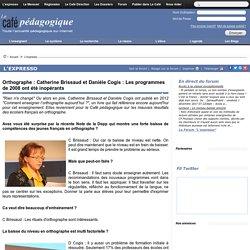 Orthographe : Catherine Brissaud et Danièle Cogis : Les programmes de 2008 ont été inopérants