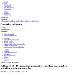 Colloque 518 - Orthographe, grammaire et écriture : recherches actuelles, pratiques nouvelles