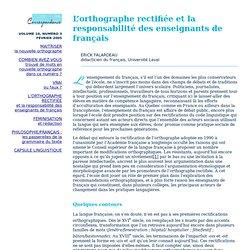 L'orthographe rectifiée et la responsabilité des enseignants de français