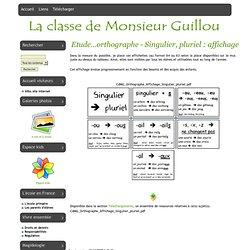 La classe de Monsieur Guillou - Etude...orthographe - Singulier, pluriel : affichage