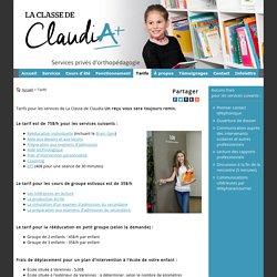 Tarifs, orthopédagogie - La Classe de Claudia Varennes