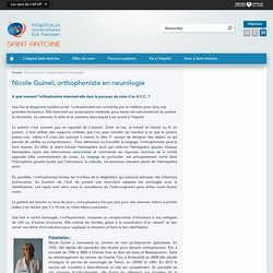 Nicole Guinel, orthophoniste en neurologie