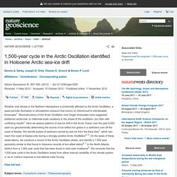 1,500-year cycle in the Arctic Oscillation identified in Holocene Arctic sea-ice drift : Nature Geoscience : Nature Research