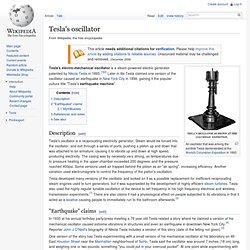 Tesla's oscillator