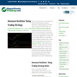Awesome Oscillator Swing Trading Strategy