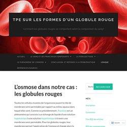 L'osmose dans notre cas: les globules rouges