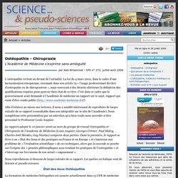 Ostéopathie - Chiropraxie - L'Académie de Médecine s'exprime sans ambiguïté