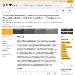 Arginase Treatment Prevents the Recovery of Canine Lymphoma and Osteosarcoma Cells Resistant to the Toxic Effects of Prolonged Arginine Deprivation