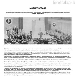 Oswald Mosley Speaking in London, 1939
