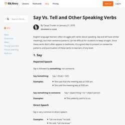 Say Vs. Tell and Other Speaking Verbs – Blog – ESL Library