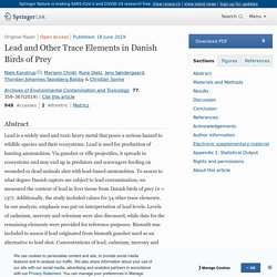Archives of Environmental Contamination and Toxicology 18/06/19 Lead and Other Trace Elements in Danish Birds of Prey