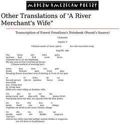 "Other Translations of ""A River Merchant's Wife"""