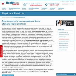 Otolaryngologist Email List, Mailing Addresses and Database from Healthcare Marketers