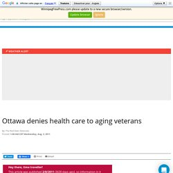 Ottawa denies health care to aging veterans