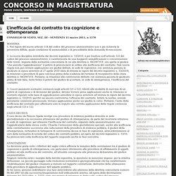 L'inefficacia del contratto tra cognizione e ottemperanza « Concorso in magistratura