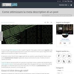 Come ottimizzare la meta description di un post - Studio Samo