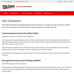 Our Customers - Velona Systems
