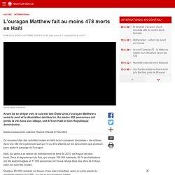 L'ouragan Matthew fait au moins 478morts en Haïti