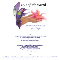 Out of the Earth ~ Natural Raw Diet for Dogs