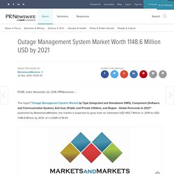 Outage Management System Market Worth 1148.6 Million USD by 2021
