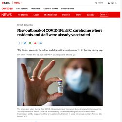 New outbreak of COVID-19 in B.C. care home where residents and staff were already vaccinated