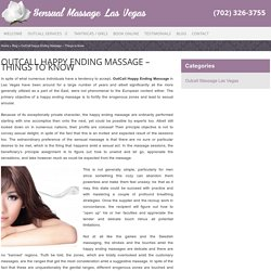 OutCall Happy Ending Massage - Must Know Things