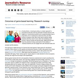 Outcomes of game-based learning: Research roundup Journalist's Resource: Research for Reporting, from Harvard Shorenstein Center