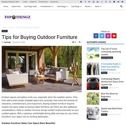 Tips for Buying Outdoor Furniture - TopThingz