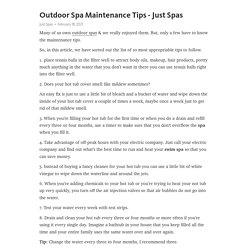 Outdoor Spa Maintenance Tips - Just Spas – Telegraph