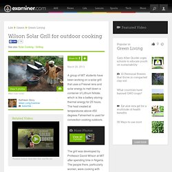 Wilson Solar Grill for outdoor cooking - National Green Living