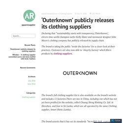 'Outerknown' publicly releases its clothing suppliers –Clothingsupplier