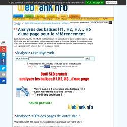 Outil d'analyse SEO des balises H1, H2, H3... H6 d'une page