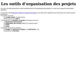 Outils d'organisation de projet : cours en Vidéo