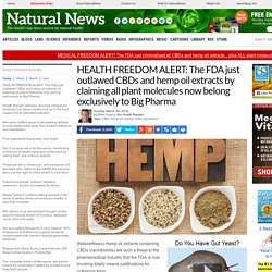 HEALTH FREEDOM ALERT: The FDA just outlawed CBDs and hemp oil extracts by claiming all plant molecules now belong exclusively to Big Pharma