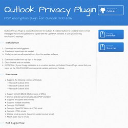 Outlook Privacy Plugin