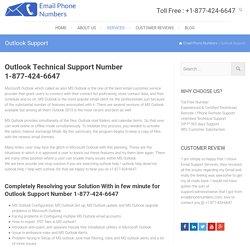 Outlook Technical Support Number 1-877-424-6647