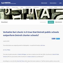 Verbatim fact check: Is it true that Detroit public schools outperform Detroit charter schools?