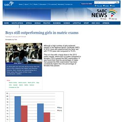 Boys still outperforming girls in matric exams:Tuesday 6 January 2015