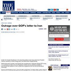 Outrage over GOP's letter to Iran