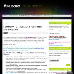 Summary – 21 Aug 2012 -Outreach and Inclusion