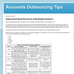 Outsource Payroll Services A Worthwhile Solution