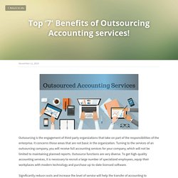 Top '7' Benefits of Outsourcing Accounting services!