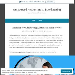 Reason For Outsourcing Administration Services